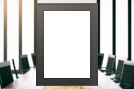 white picture frame: Empty white picture frame in blurry boardroom. Mock up, 3D Rendering