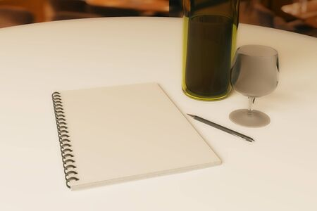 best ad: Close up of dining table with blank spiral notepad, wine, cutlery and pen. 3D Rendering Stock Photo