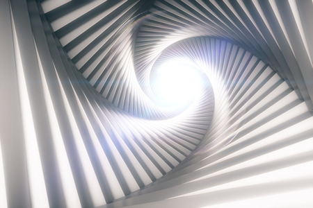Creative patterned tunnel with light at the end. 3D Rendering