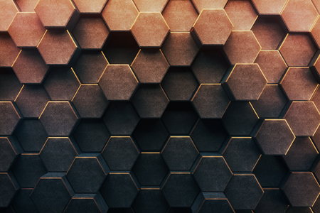 Abstract honeycomb backgroundwallpaper. 3D Rendering Stock Photo