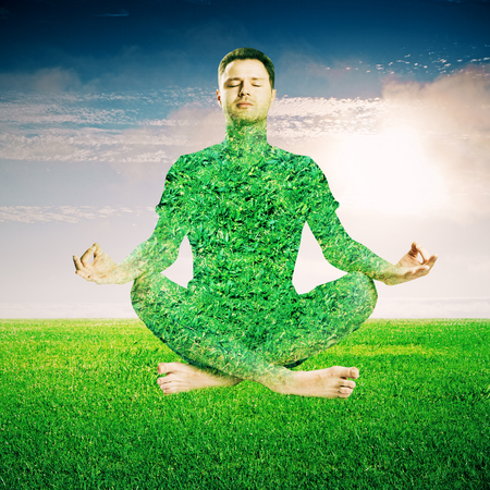 what to eat: Meditating green grass man on sky background.