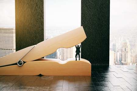 Tiny businessman preventing huge wooden clothespin from coming together in interior with city view. 3D Rendering