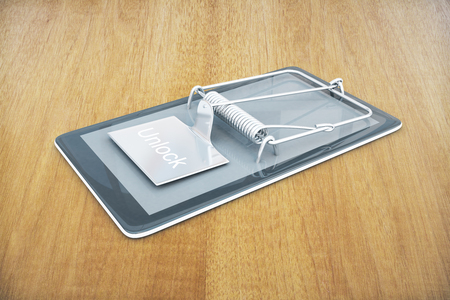 Mobile phone with mouse trap on wooden background. Smartphone dependency concept. 3D Rendering