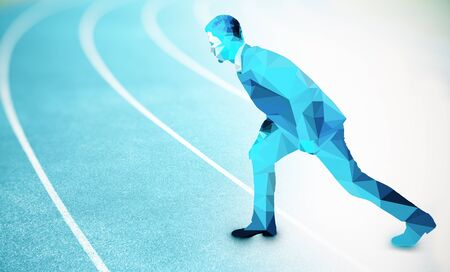 contender: Side view of abstract polygonal businessman getting ready to run on blue running track. Competition concept Stock Photo