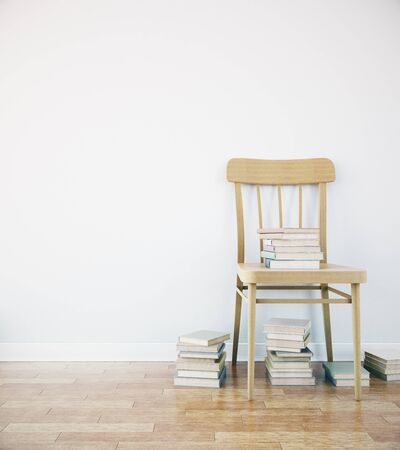 wooden chair: Wooden chair with books in simple interior with blank wall. Mock up, 3D Rendering Stock Photo