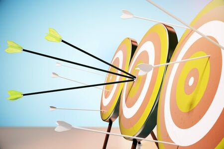 targeting: Side view of dart boards with arrows on blue background. Targeting concept. 3D Rendering