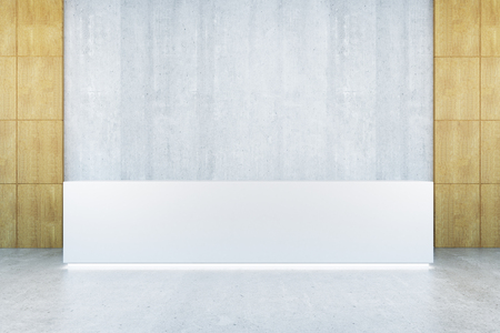 front desk: Front view of modern reception desk in interior with blank concrete wall. Mock up, 3D Rendering Stock Photo