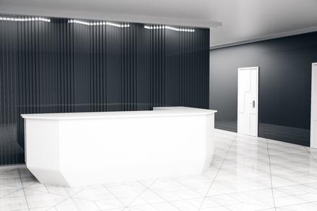 reception desk: Side view of modern white reception desk in dark interior. 3D Rendering
