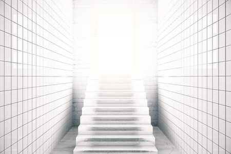 leading light: White tile interior with stairs leading to bright light. Success concept. 3D Rendering