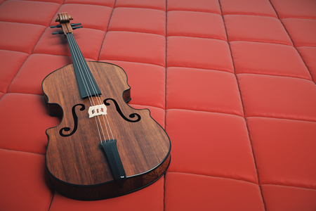 Wooden violin on red leather background. Music concept. 3D Rendering