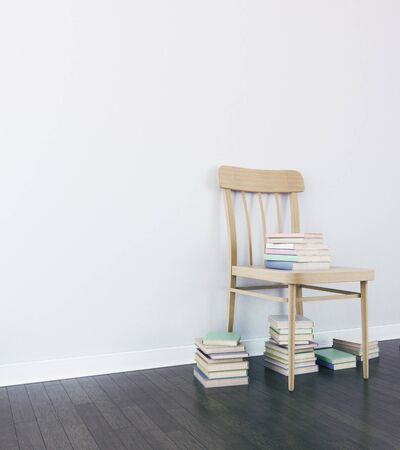 wooden chair: Wooden chair with books in simple interior with blank wall. Side view, Mock up, 3D Rendering