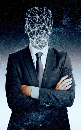 folded arms: Abstract man with polygonal head on space background Stock Photo