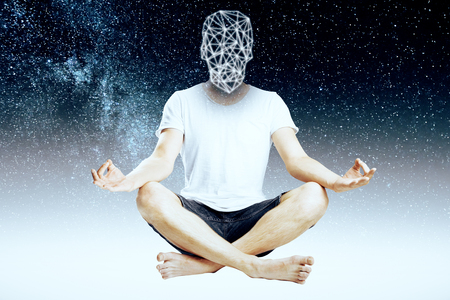 man meditating: Abstract meditating man with polygonal head on space background Stock Photo