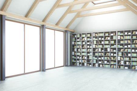 loft: Creative loft library interior with windows and no view. Side view, 3D Rendering