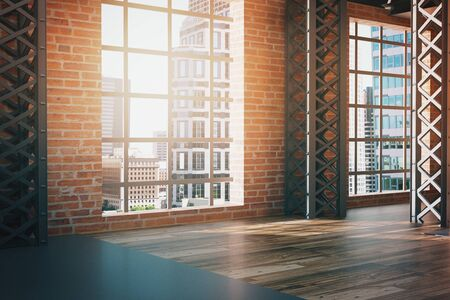 Side view of modern red brick interior with wooden floor and panoramic window with city view. 3D Rendering