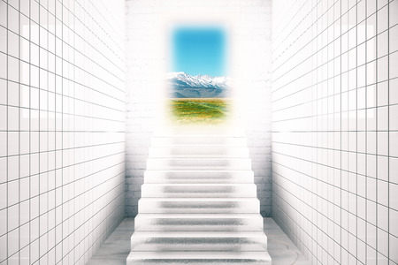 stairs interior: White tile interior with stairs leading to sunlit landscape. Success concept. 3D Rendering