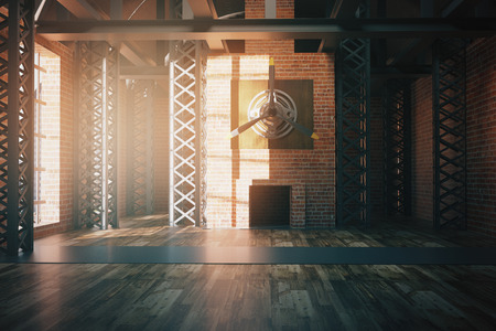 unfurnished: Unfurnished hangar style red brick interior with sunlight. 3D Rendering