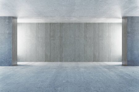 blank wall: Empty concrete interior with blank wall. Mock up, 3D Rendering