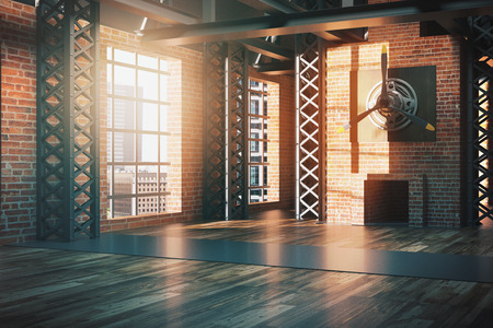 unfurnished: Unfurnished hangar style red brick interior with city view and daylight. Side view, 3D Rendering Stock Photo