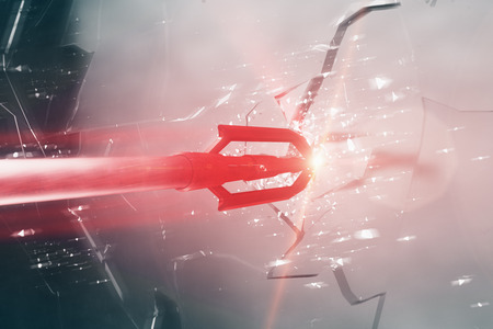 Abstract red arrow breaking glass. Aiming concept. 3D Rendering Stock Photo