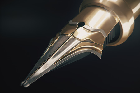 writing instruments: Close up of golden fountain pen tip onb dark background. 3D Rendering Stock Photo