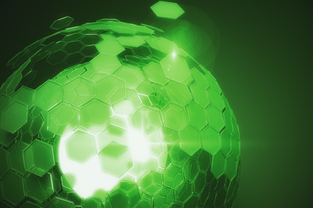 cellular: Abstract cellular green sphere on dark background. Technology concept. 3D Rendering
