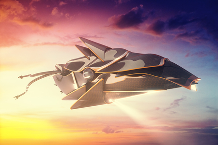 Unknown flying object on bright sky background. 3D Rendering Stock Photo