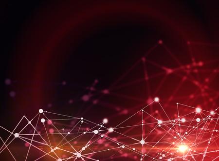 赤の背景に抽象的な接続。技術コンセプト