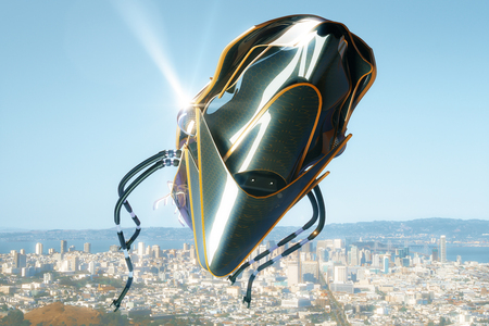 unidentified flying object: Unknown flying object on bright city and sky background. 3D Rendering