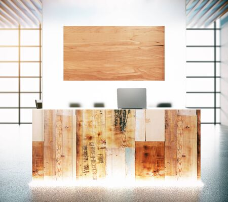 reception desk: Abstract aged wood reception desk with wooden poster. Mock up, 3D Rendering