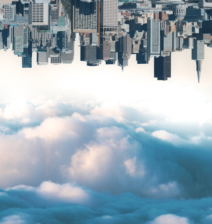 Abstract upside down city and cloudy sky wallpaperbackground