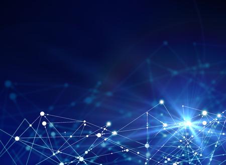 Abstracte verbindingen op blauwe achtergrond. Tech concept Stockfoto