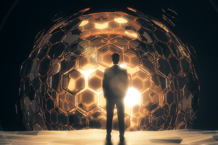 Back view of businessman standing in front of cellular golden sphere on dark background. 3D Rendering. Technology concept