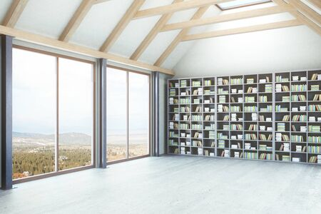 loft: Creative loft library interior with windows and landscape view. Side view, 3D Rendering