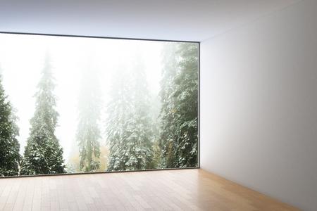 3d Fußboden Wald ~ Modernes interieur mit holzboden betonwänden decke und