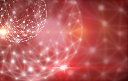 Conectado esfera roja. concepto de la tecnología Foto de archivo - 68729233