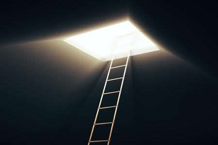 Quadratische Öffnung in Decke und Leiter, die zu ihr führt. Erfolgskonzept. 3D-Rendering