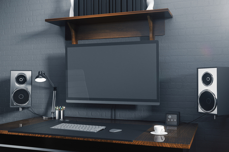 speakers desk: Front view of creative hipster desktop with blank computer screen, speakers, coffee cup, keypad and other items. Mock up, 3D Rendering