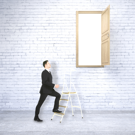 heaven: Businessman in white brick interior climbing ladder leading to heaven. Success concept. 3D Rendering