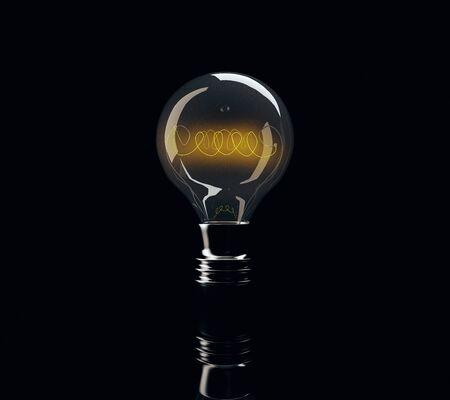 Light bulb on black background. Idea concept. 3D Rendering Stock Photo
