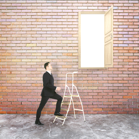 heaven: Businessman in red brick interior climbing ladder leading to heaven. Success concept. 3D Rendering Stock Photo