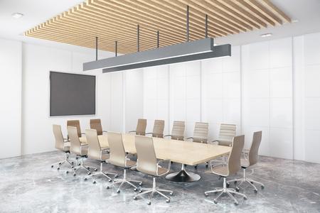Eigentijdse conferentieruimte met lege bord. Zijaanzicht, mock-up, 3D-rendering
