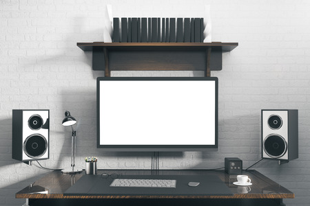 speakers desk. speakers desk: front view of creative designer workplace with blank white computer screen, desk
