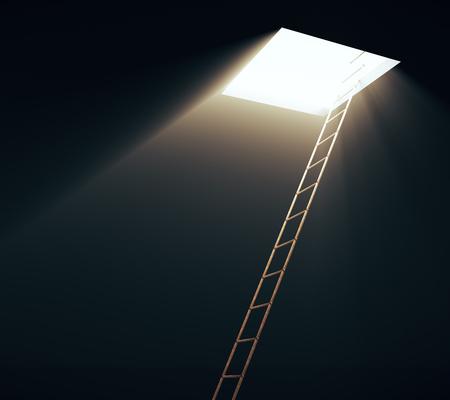 Quadratische Öffnung in der Decke und Leiter, die dazu führen. Freiheitskonzept. 3D-Rendering Standard-Bild