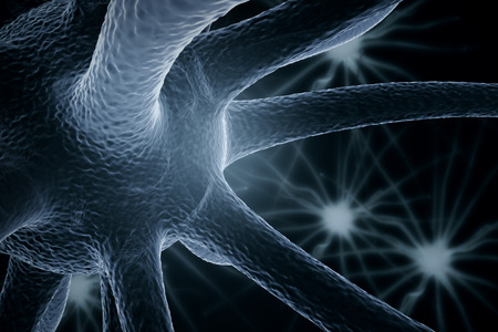 Close up of grey neurone. Science concept. 3D Rendering Stock Photo