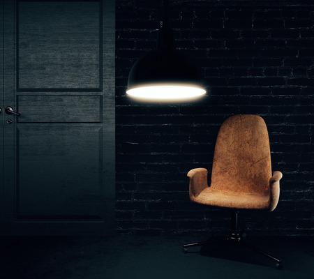 Abstract zwart baksteen interieur met fauteuil, lamp en deur. 3D-rendering