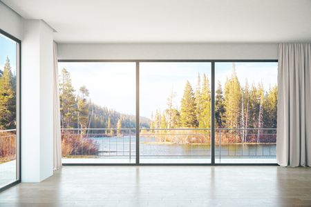 unfurnished: Unfurnished concrete interior with panoramic windows and landscape view. 3D Rendering