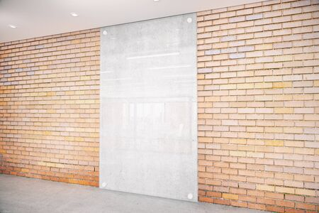 under view: Red brick room with concrete fragment under glass. Side view, Mock up, 3D Rendering