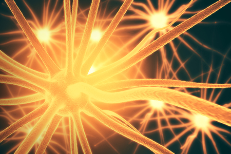 neurone: Close up of orange neurone. Science concept. 3D Rendering Stock Photo