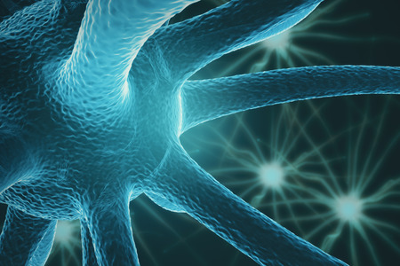 neurone: Close up of turquiose neurone. Science concept. 3D Rendering